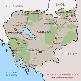 La vuelta al mundo en bicicleta del fotógrafo activista por los Derechos Humanos Joseba Etxebarria. Mapa con la ruta seguida en Camboya.