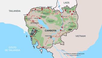 Ruta seguida en Camboya por el fotógrafo humanitario Joseba Etxebarria en la vuelta al mundo en bicicleta por los Derechos Humanos.