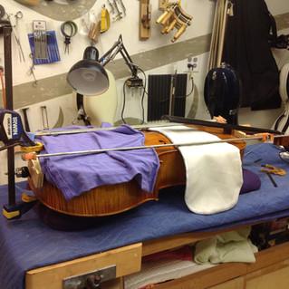 refastening a cello rib