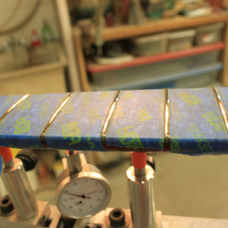close-up of fret work in progress