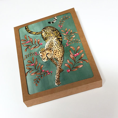 Box of 10 Versacheetah Holiday cards