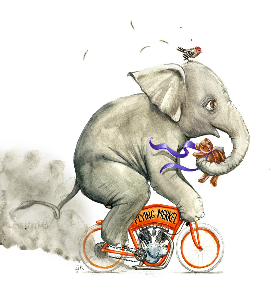 Elephant on Flying Merkel, nursery painting