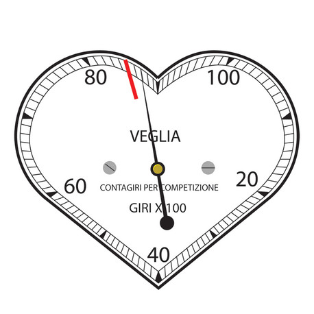 Veglia heart tachometer sticker design