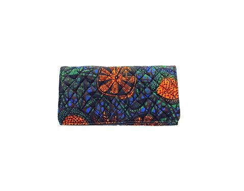 NJOKI Large Wallet: Orange Floral Kitenge