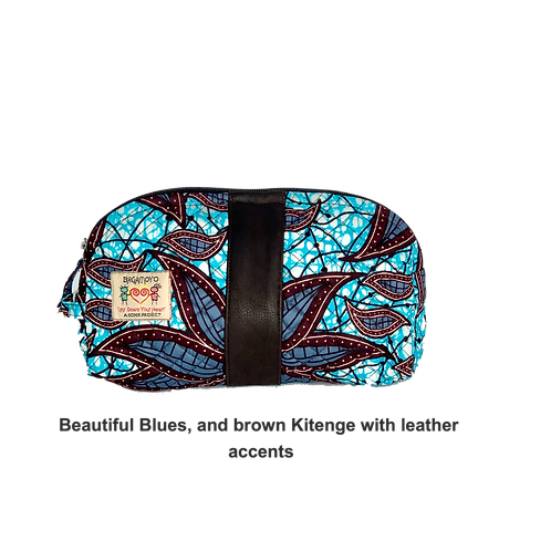 Kitenge 12  Cosmetics Bags w/Leather