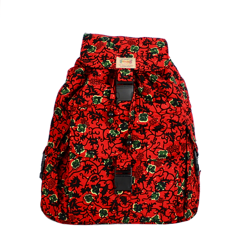 Kitenge 14 Mukavi Backpack-Red Floral