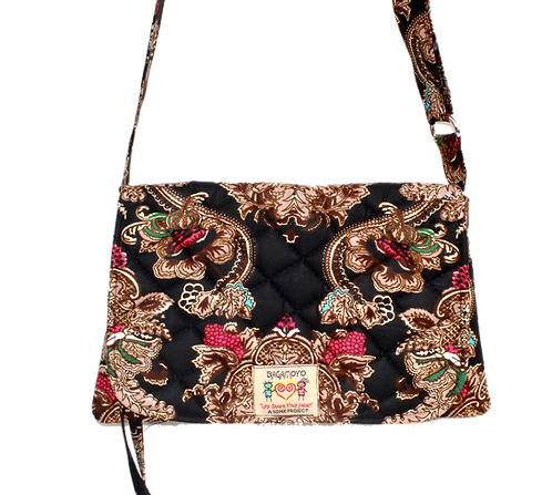 Kitenge 9  Beryl Bag-Dark Brown, Pink & Beige & Green