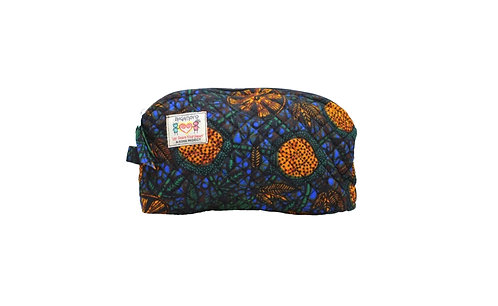 KEVIE Cosmetics Bag: Orange Floral Kitenge - available in 3 sizes