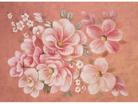 Peach Floral Painted