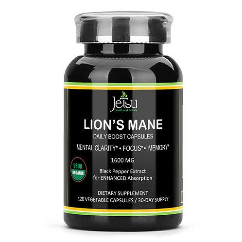 Organic Lions Mane Mushroom Capsules – Plus Bioperine Black Pepper Extract