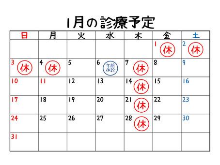 1月休診日のお知らせ