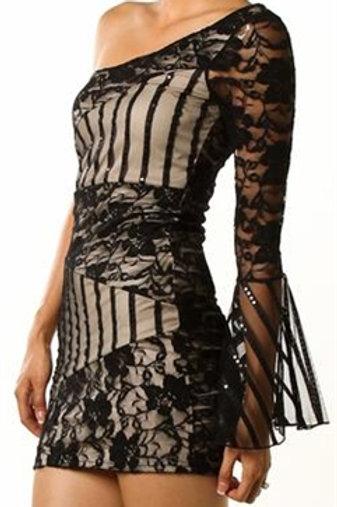 Mattieu Ethan one- shoulder sleeve Lace Mini Dress