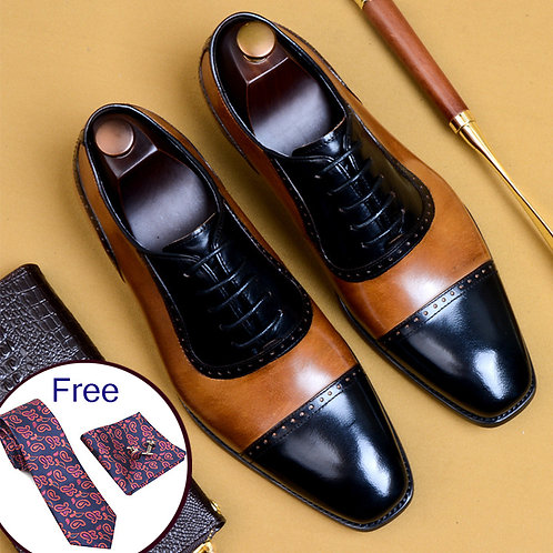 Mens Formal Genuine Leather Oxford Shoes Brogues Lace Up Men Shoes
