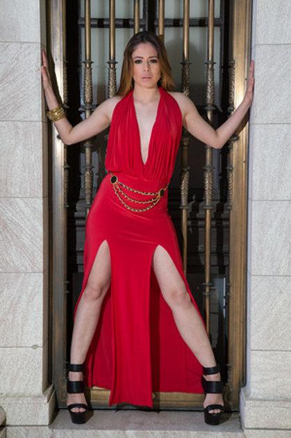 Mattieu Ethan Red Side Slit Maxi Dress