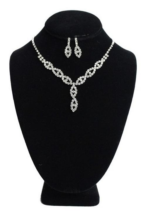 Mattieu Ethan Silver Crystal Rhinestone Necklace Earring Set