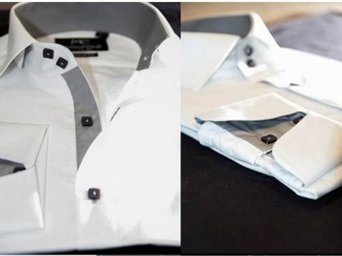 Mattieu Ethan White Formal Gray Trim Collar & Cuff Dress Shirt