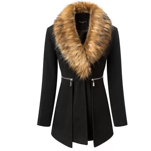 Mattieu Ethan Black Wool Fur Collar Trench Coat