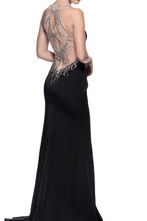 Mattieu Ethan Black beads-stones neck Gown