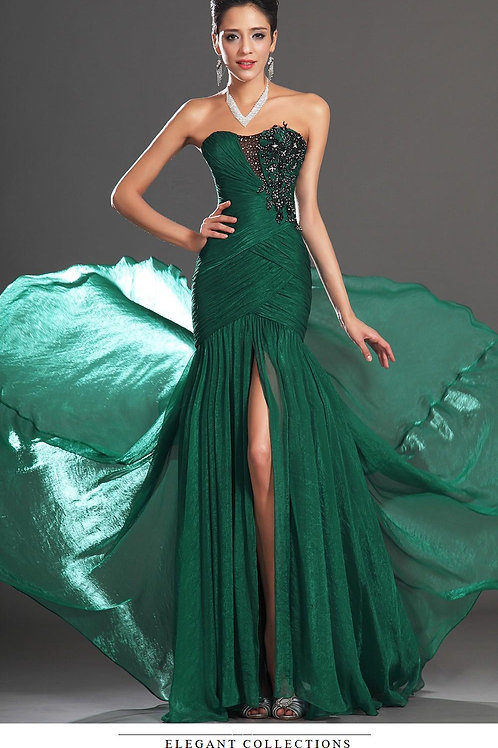 Mattieu Ethan Green Strapless Split hemline Gown