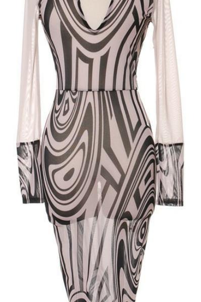 Mattieu Ethan Sheer long sleeve dress