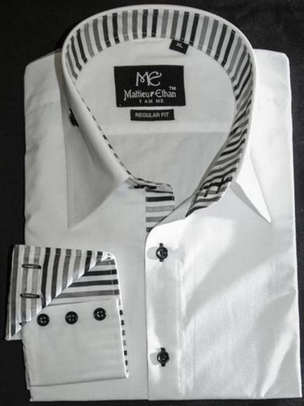 Mattieu Ethan Black/Gray striped Collar & Cuff Dress Shirt