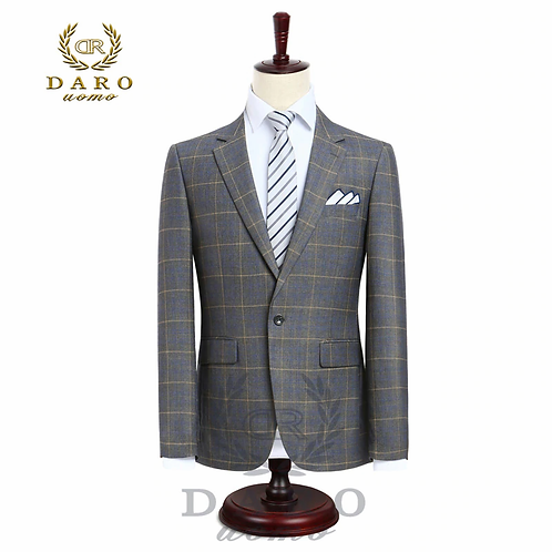 Men's Daro Slim Fit Casual suit-One Button Fashion Grid Blazer and Pants