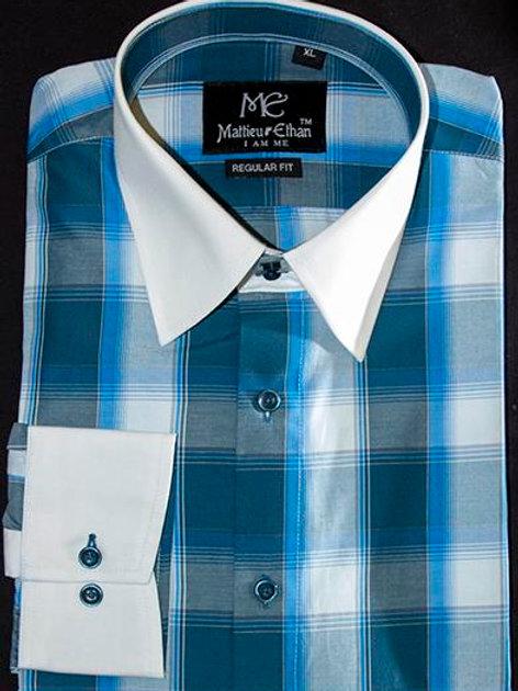Mattieu Ethan Blue/White Open Check Dress Shirt
