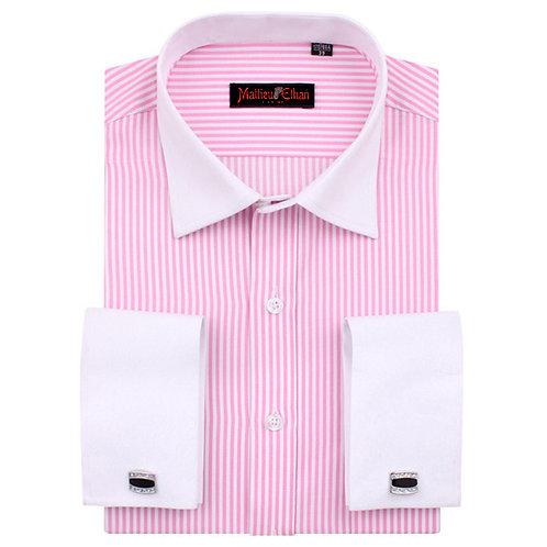 Mattieu Ethan Pink Striped Business Men Dress Shirt with French Cufflinks