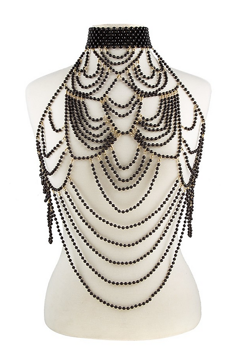 Mattieu Ethan Pearl Beaded metal plated Body Chain