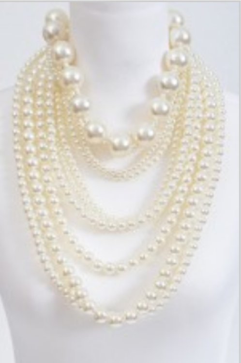 Mattieu Ethan Multi layered Faux Pearl Necklace