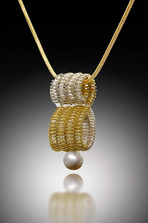 Infinity Pendant with Pearl, Silver & Gold
