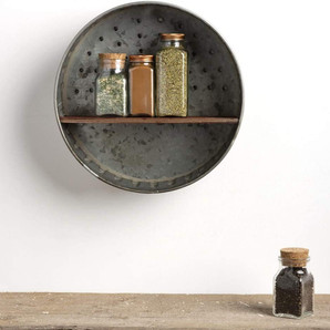 Metal and Wood Rustic Farmhouse Wall Shelf