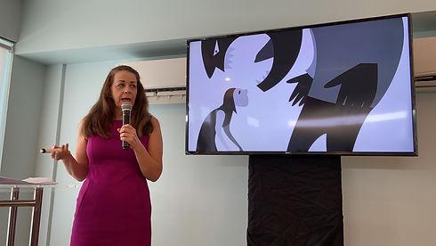 Christina Hoag speaking at Manila conference