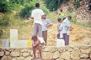 Haitian children standing outside