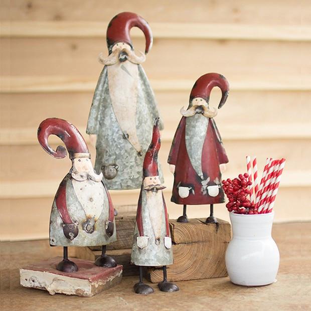 Galvanized Metal Santa Figures, Set of 4