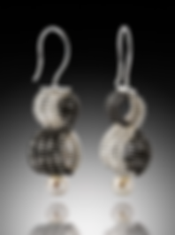 Infinity Dangles with Pearls, Silver & Black