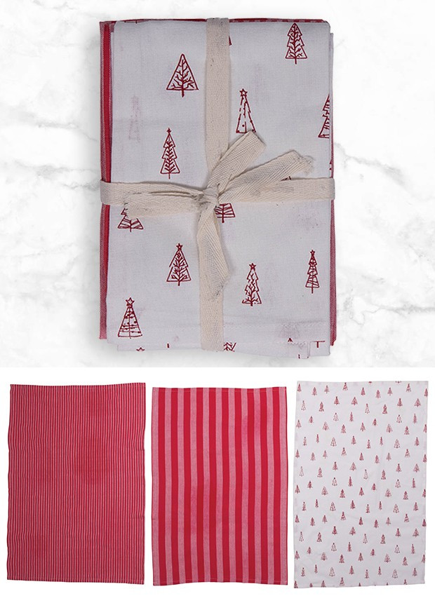 Cotton Christmas Tea Towels, Set of 3