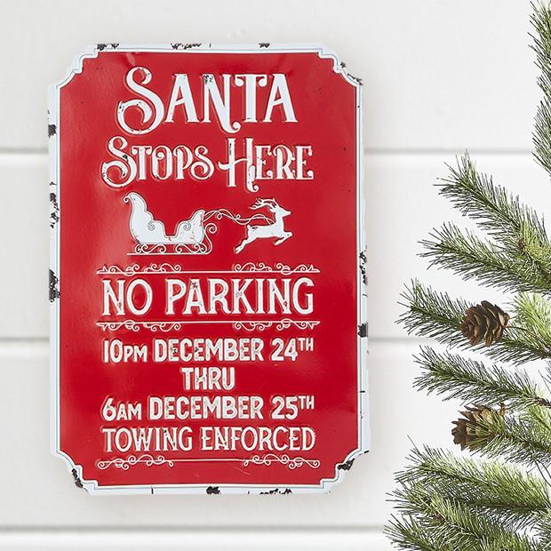 santa stops here metal wall sign