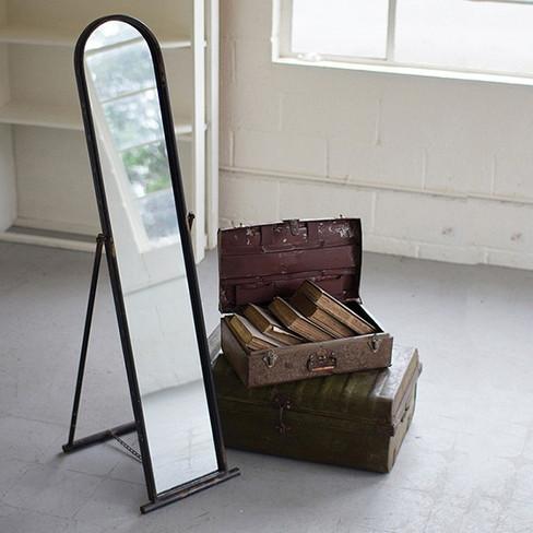 metal framed floor mirror