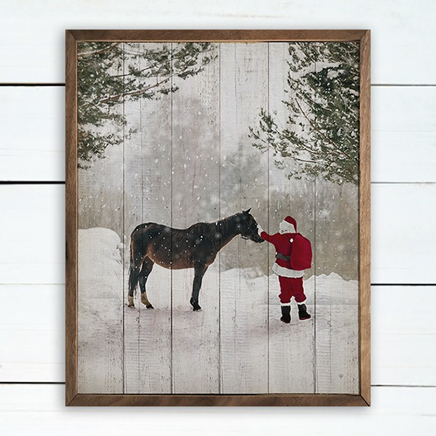 Santa With Horse Framed Holiday Wall Decor