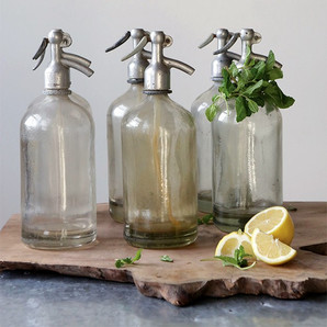 Vintage Glass Seltzer Bottle With Wear And Tear