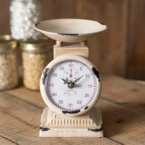Shabby Chic Decorative Kitchen Scale Accessory With Chipped Paint Finish