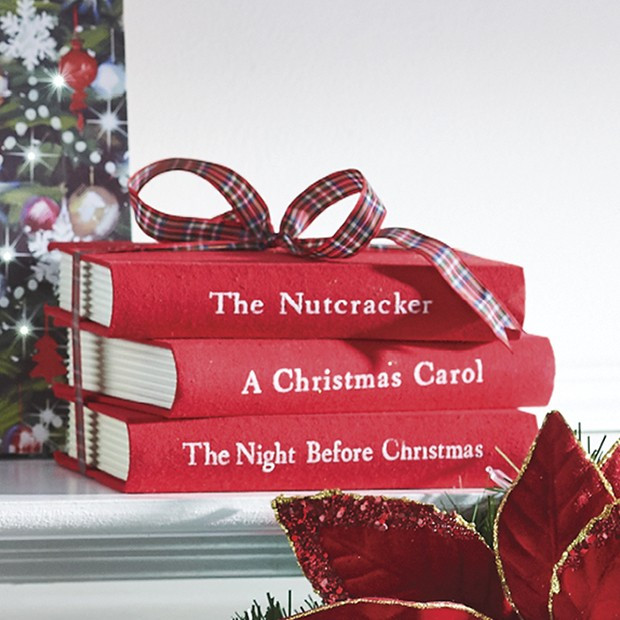 Bright Holiday Book Stack