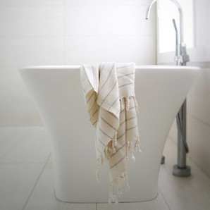 Soft Grey Striped Farmhouse Bamboo Hand Towel