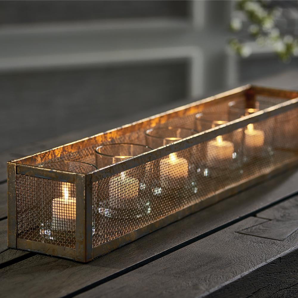 industrial metal candle holder