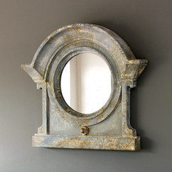 Rustic Distressed Mansard Farmhouse Accent Mirror