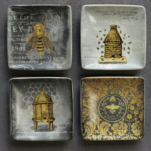 Vintage Yellow and Black Bee Themed Stoneware Square Plates Set of 4