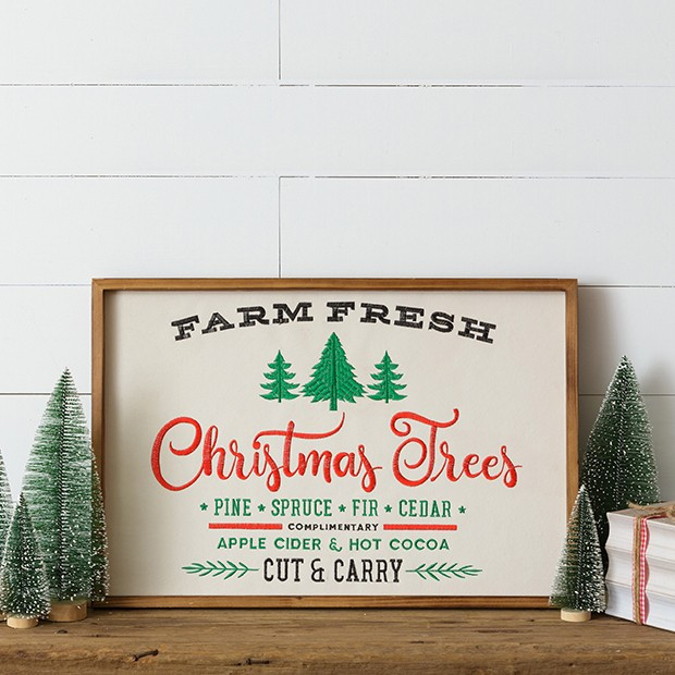 Framed Farm Fresh Christmas Trees Sign