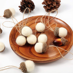 Farmhouse Felt Acorn Ornaments, Set of 18 Pieces