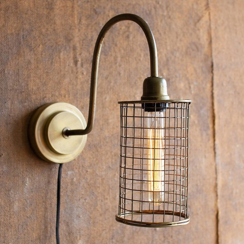 industrial wall lamp with mesh shade